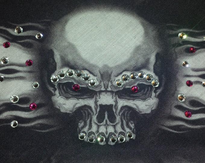 skull and flame bandana with Fuscia Swarovski Crystals