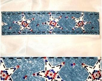 Narrow Red White and Blue Star Bandana with Swarovski Crystals (Sku1067)