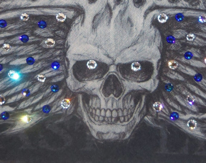 Black wing skull bandana with Blue and clear Swarovski crystals on it