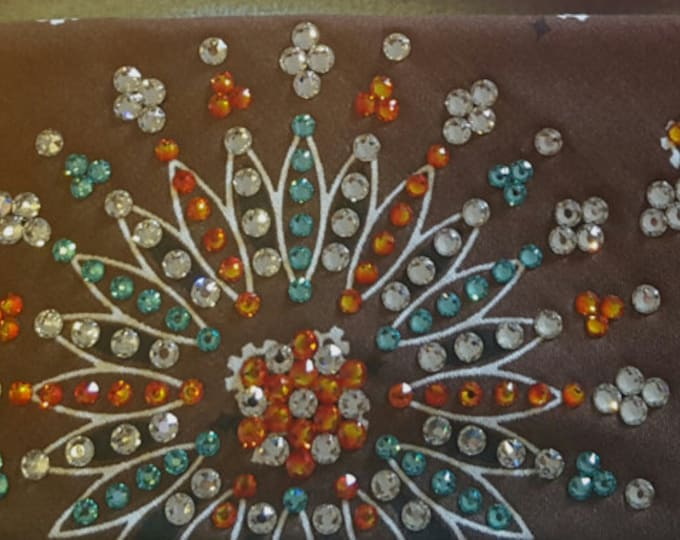 Brown LeeAnnette bandana with over 300 Swarovski crystals on it