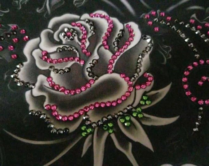 Black and Gray LeeAnnette rose bandana with OVER 300 Fuschia and Jet Hematite Swarovski Crystals