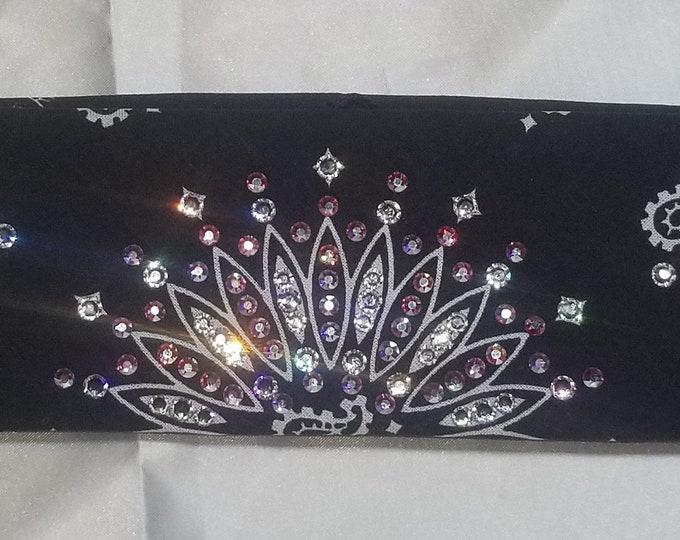 NARROW black bandana with Aurora borealis and Diamond clear Swarovski crystals