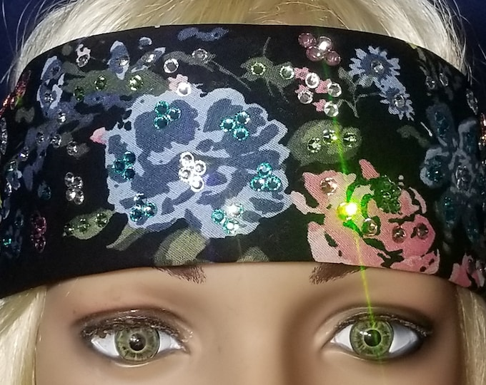 Gorgeous multi colored flower bandana with Swarovski crystals