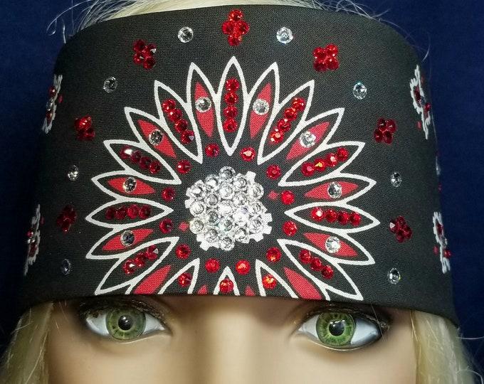 Black red and white Paisley bandana with swarovski crystals