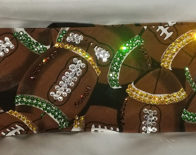 EXTRA BLING FOOTBALL Swarovski crystal Bandanas choose your team colors custom made to order