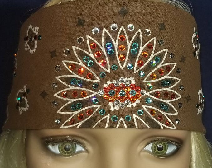 Brown and white Paisley bandana with light turquoise, Orange and clear swarovski crystals