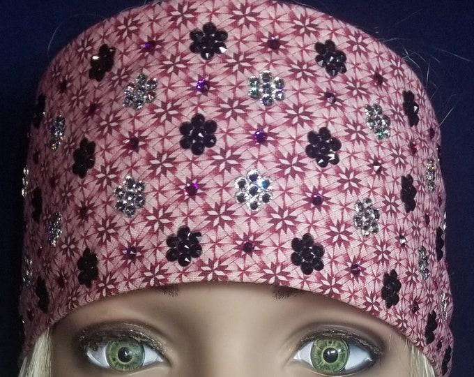 Leeannette Style Pink and Maroon Swarovski Crystal Bandana