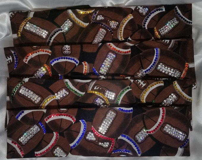 FOOTBALL BANDANAS with Swarovski crystals CUSTOM made with your team colors