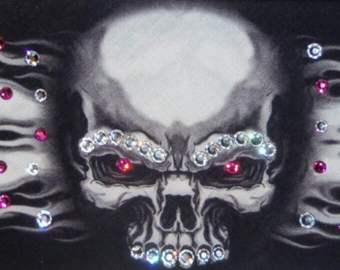 Flame Skull Bandana with Fuscia Swarovski Crystals