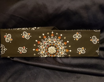 Black Paisley with Clear and Orange Crystals (Sku1908)