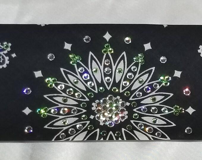 Black Paisley Swarovski Crystal Bandana With Peridot Green and Diamond Clear Swarovski Crystals