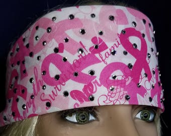 Pink and white breast cancer awareness bandana with diamond clear swarovski crystals