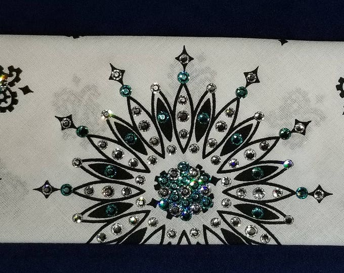 White and black Paisley bandana with light turquoise and diamond clear Swarovski crystals