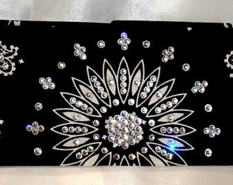 Black Paisley With Diamond Clear Swarovski Crystals (Sku1938)