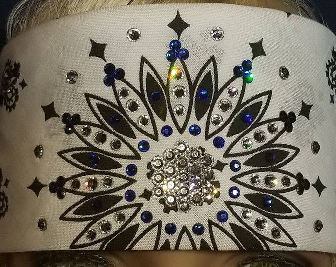 White and black Paisley bandana with Majestic blue and diamond clear swarovski crystals