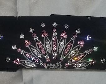 NARROW black-and-white Paisley bandana with diamond clear and light pink swarovski crystals