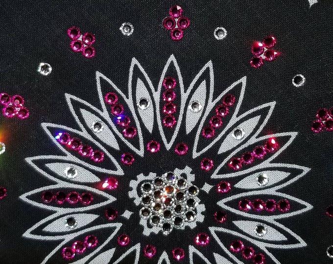 Black bandana with bright fuschia and diamond clear swarovski crystals