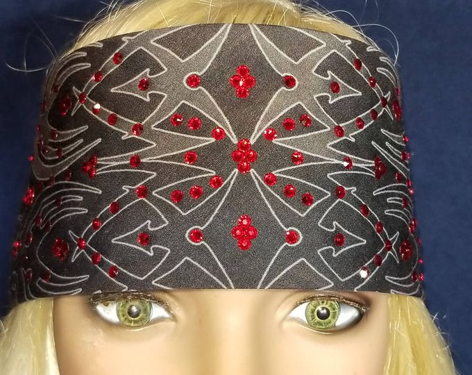Black and Gray tribal design bandana with bright red swarovski crystal