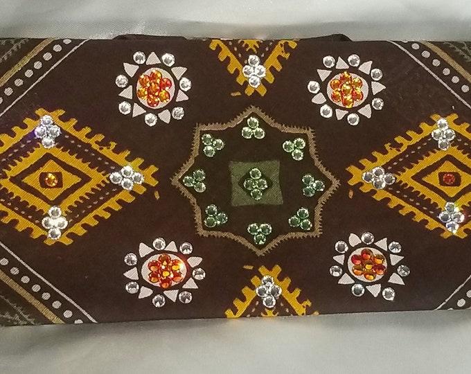 Earth tone brown, orange and green Swarovski crystal bandana