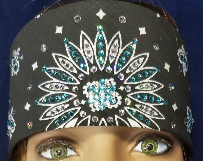 Black paisley Bandana with clear and Turquoise Swarovski Crystals