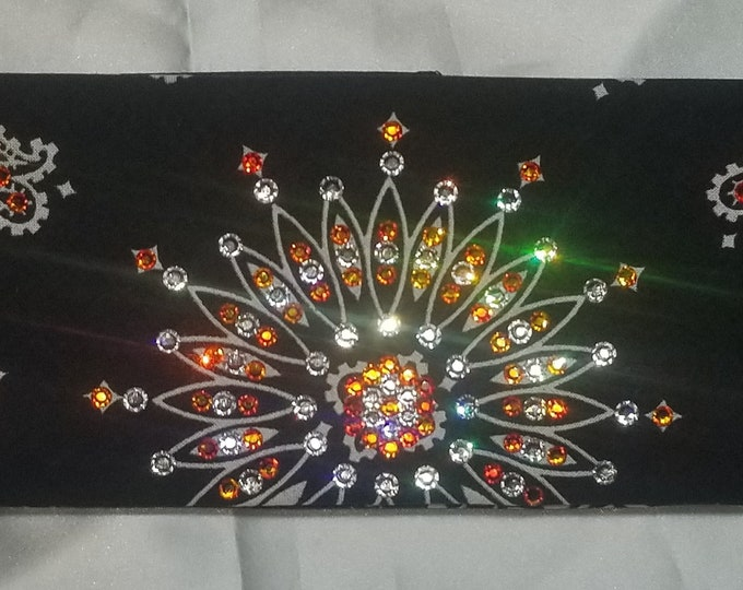 Black and Orange Swarovski Crystal Bandana