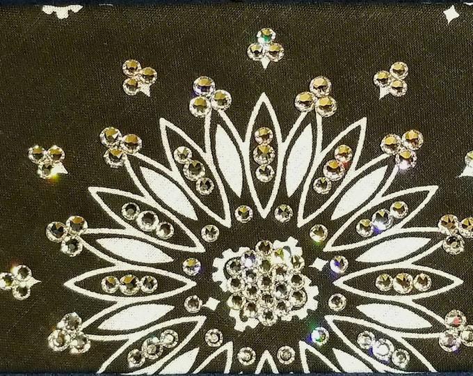 Black-and-white Paisley bandana with diamond clear swarovski crystals