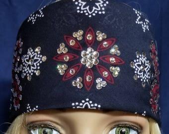 Navy, dark red and white floral pattern Swarovski Crystal bandana