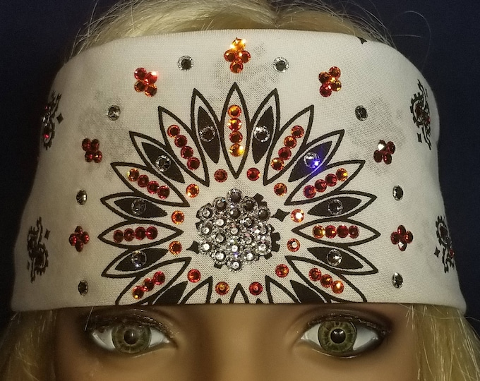 White Paisley bandana with fire opal Orange and clear swarovski crystals