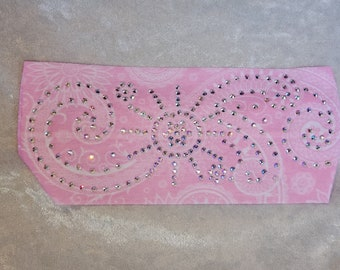 Stretchy Light Pink Sun Spiral Headband with Aurora Borealis Crystals (Sku5055)