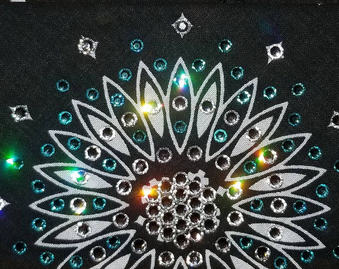 Black-and-white Paisley bandana with light turquoise and diamond clear swarovski crystals
