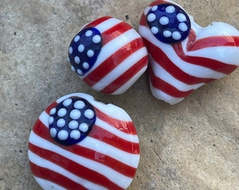 PATRIOTIC FLAG BEADS-Red White and Blue Flag Beads-3 Glass Handpainted-Stars and Stripes Beads-Unique Flag Beads-Heart, Oval and Round Set