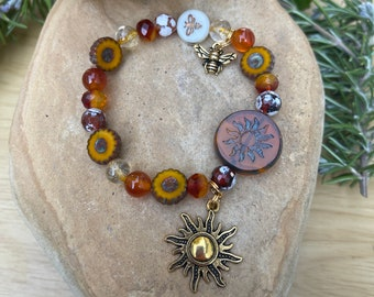 PERSIMMON SUN and Honey BEE Symbolism Bracelet-Genuine Carnelian and Citrine Gemstones-Vitality-Leadership-Creativity-Community