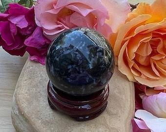 MYSTIC MERLINITE SPHERE-Merlinite Sphere-Indigo Gabbro-Awakening-Black Grey Lavender-W/Stand-Balance-Meditation Tool-Insight to Past-Focus