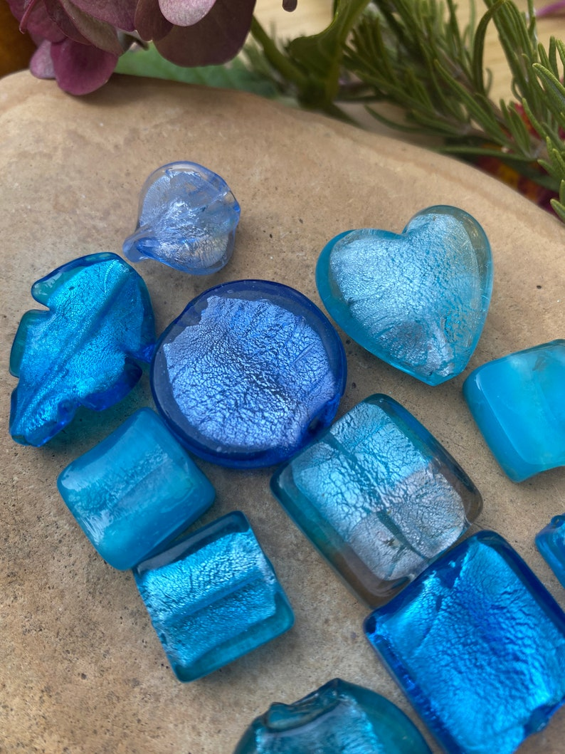 BLUE SILVER FOIL Glass Beads-Variety Mix of 12 Silver Foil over Blue Glass Beads-Variety of Shapes-Heart-Leaves-One of a Kind Focal Bead Mix