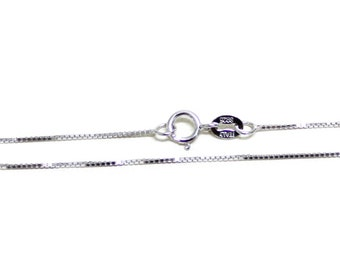 Sterling Silver 1mm Box Chain 16 Inch, 18 Inch - Rhodium Plated, Nickel Free, square chain, thin chain, small chain, tiny chain