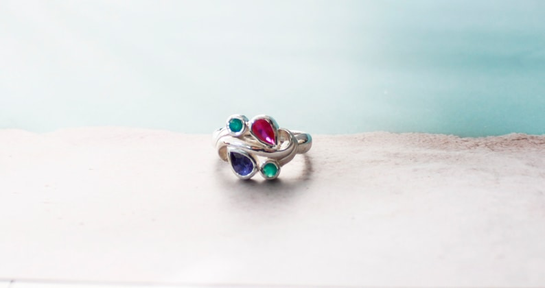 Personalized Lab created Ruby Emerald Sapphire Teardrop Pear shaped Gemstone Sterling Silver Ring