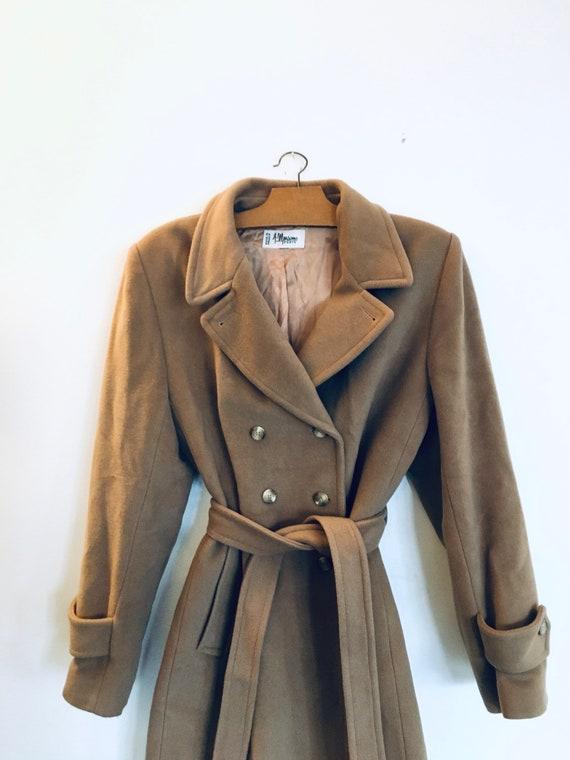 Vintage beige wool mohair angora winter coat