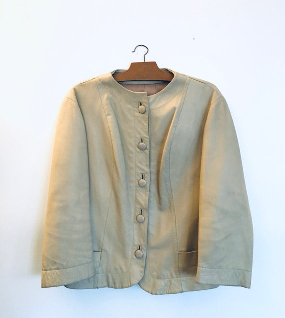 Vintage 90 beige leather jacket