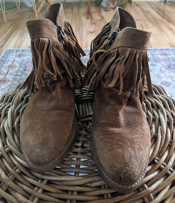 Vintage Sam Edelman Ankle Fringe Cowboy boots - image 5