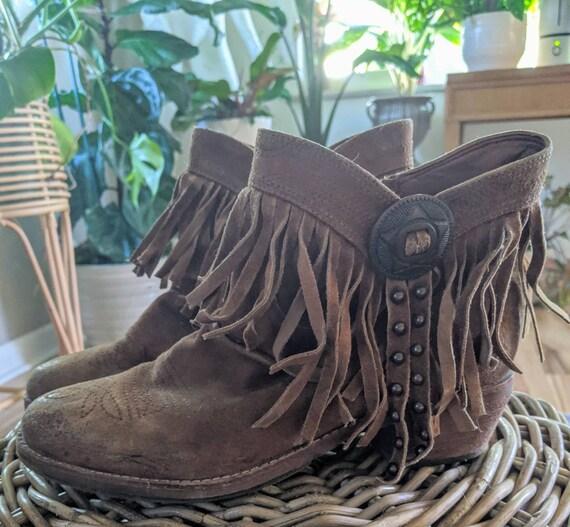 Vintage Sam Edelman Ankle Fringe Cowboy boots - image 1