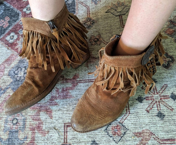 Vintage Sam Edelman Ankle Fringe Cowboy boots - image 2
