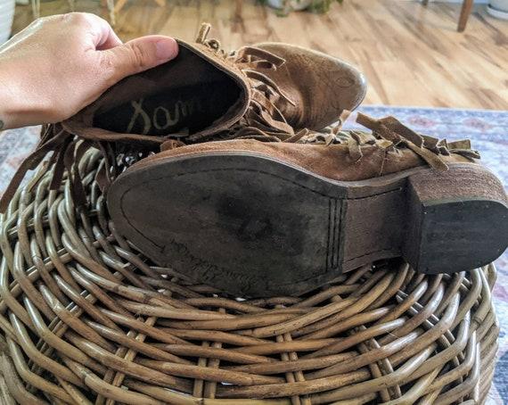Vintage Sam Edelman Ankle Fringe Cowboy boots - image 3