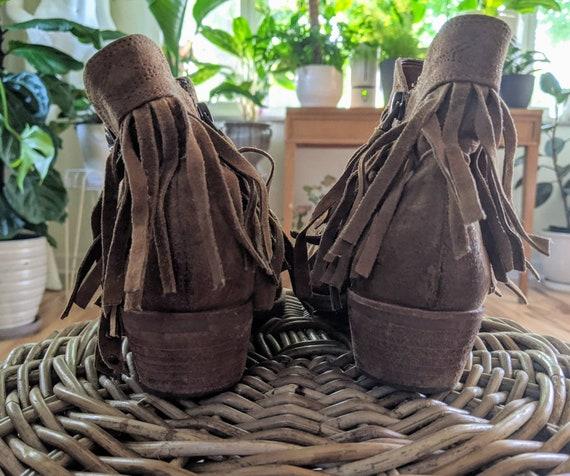 Vintage Sam Edelman Ankle Fringe Cowboy boots - image 4
