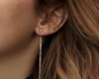 Ear Backdrop - double silver tone chain