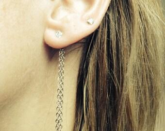 Ear Backdrop - double 2in silver tone chain with 1 or 2 earrings