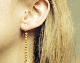 Ear Backdrop - double 2in gold tone chain with 1 or 2 earrings