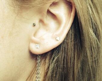 Ear Backdrop - double 1in silver tone chain with 1 or 2 earrings