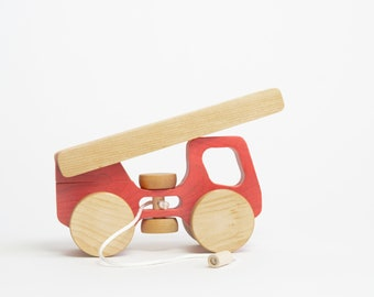Wooden fire truck made in Quebec