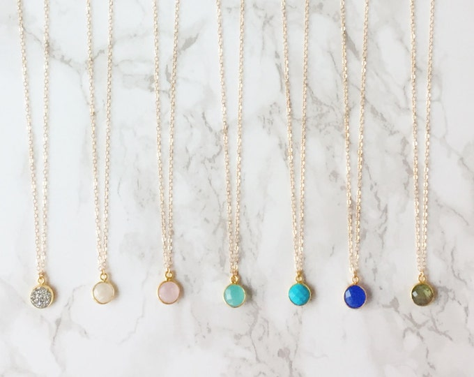 Gemstone Drop Dainty Necklace (Choose a Gem)