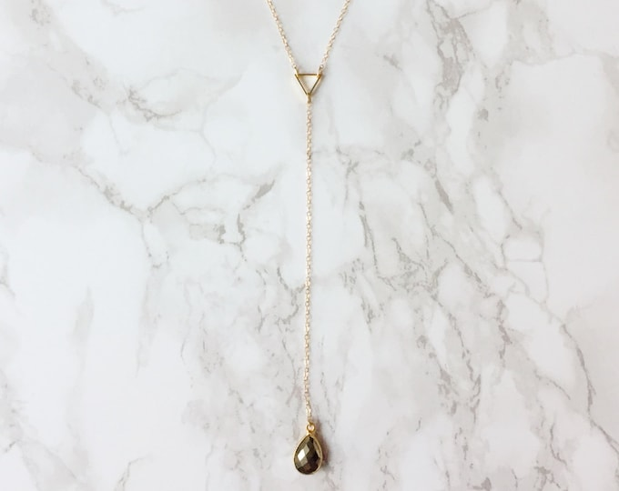 Triangle Teardrop Lariat Necklace (Choose a Color)